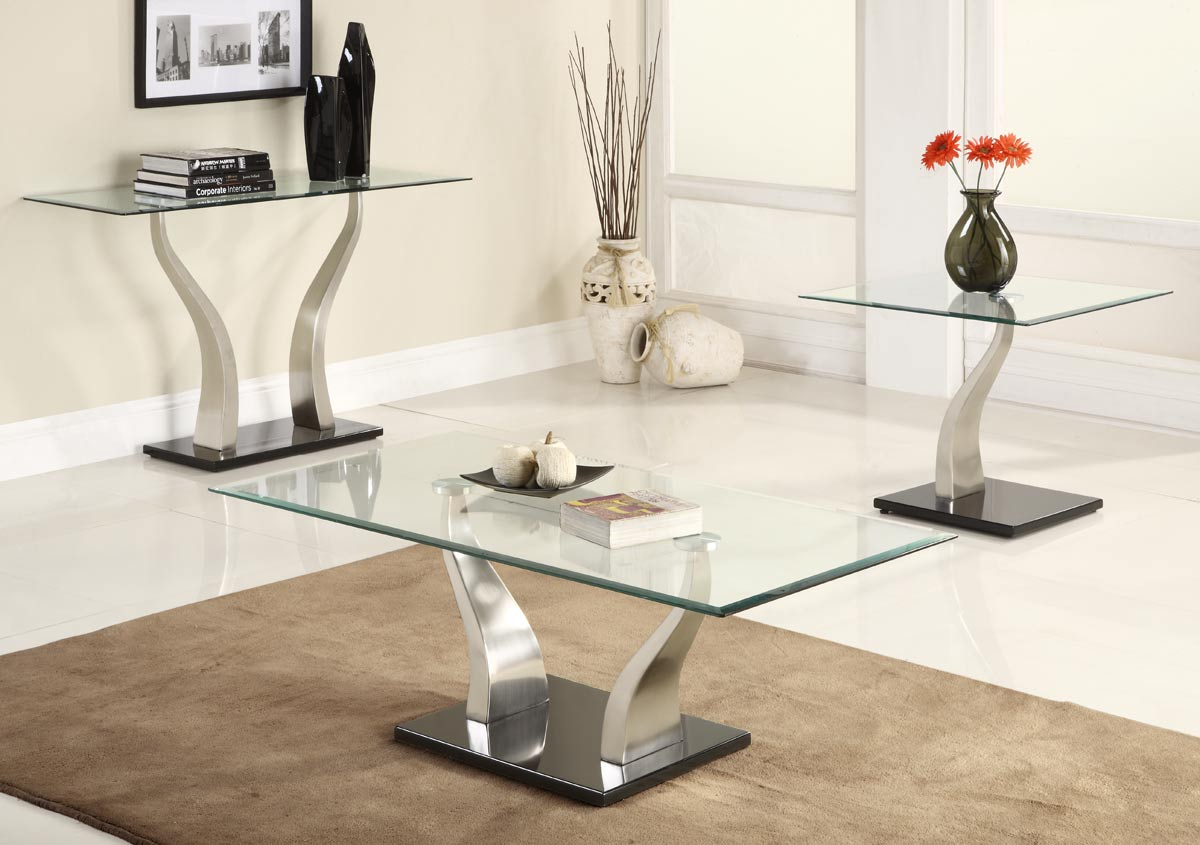 Image of: Coffee table sets glass