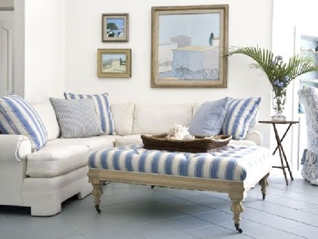 White Blue Upholstered Coffee Table