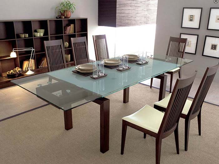 Image of: glass expandable dining room table