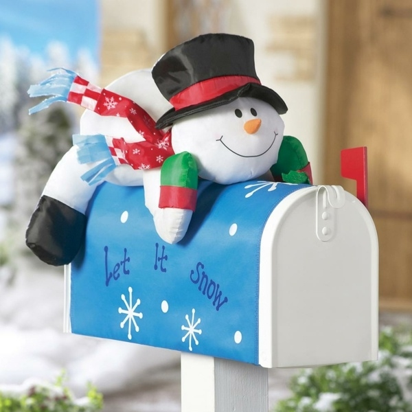 Picture of: outdoor decorations mailbox inflatable snowman