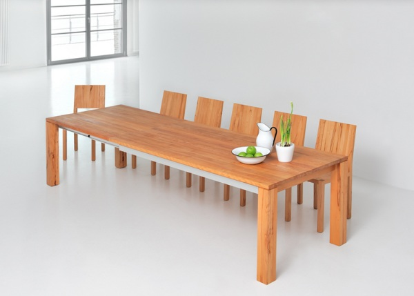 wooden expandable dining room table