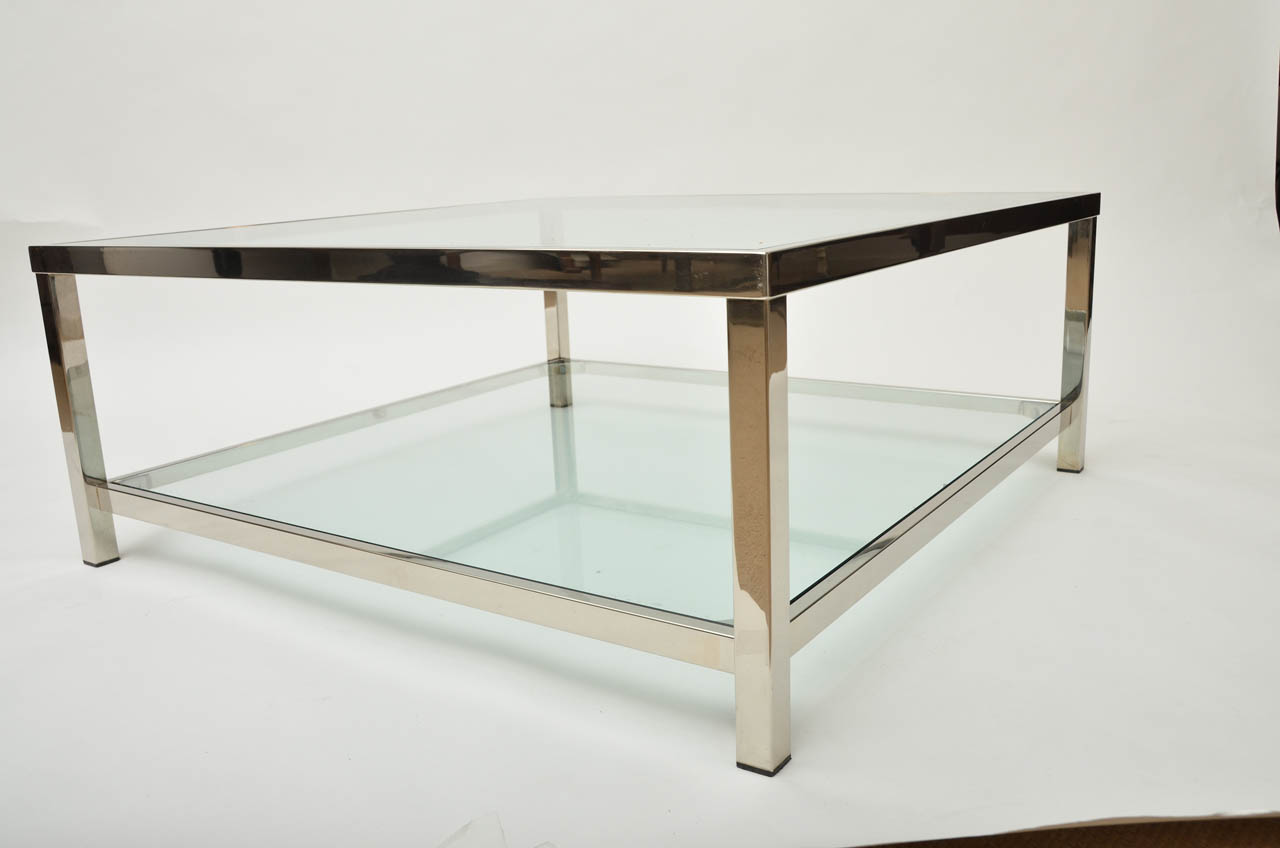 Image of: Chrome Glass Square Coffee Table
