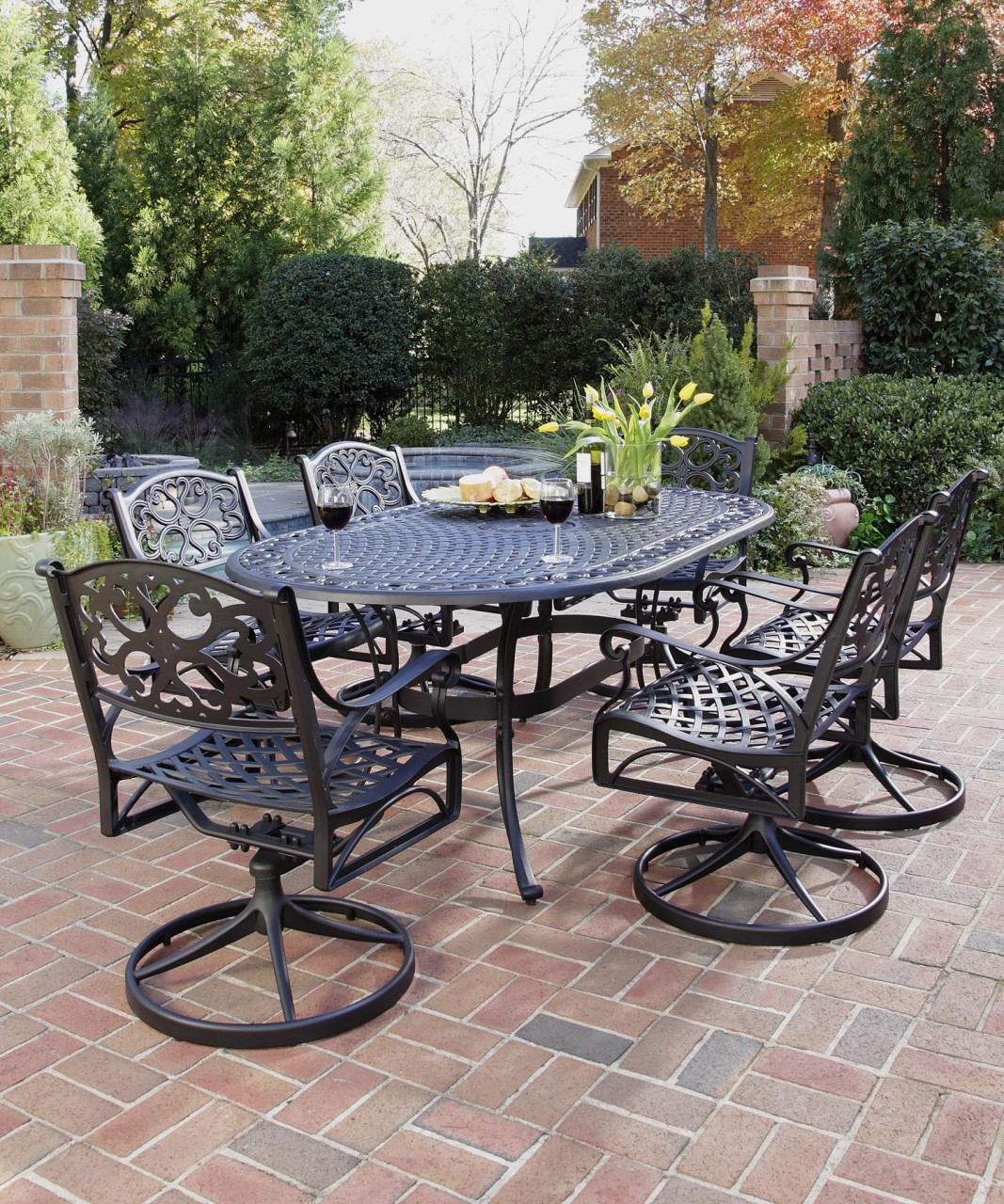 Image of: Awesome wrought iron patio table