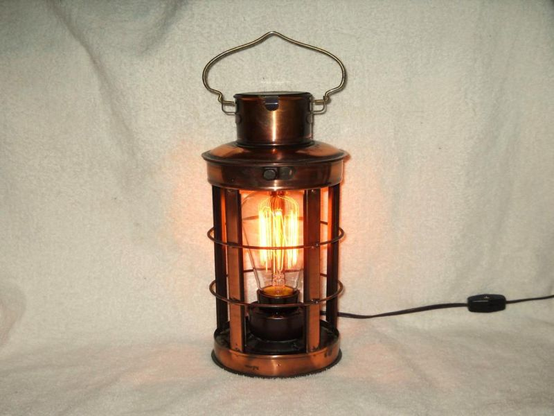 Metal Steampunk Industrial Lantern Table Lamp