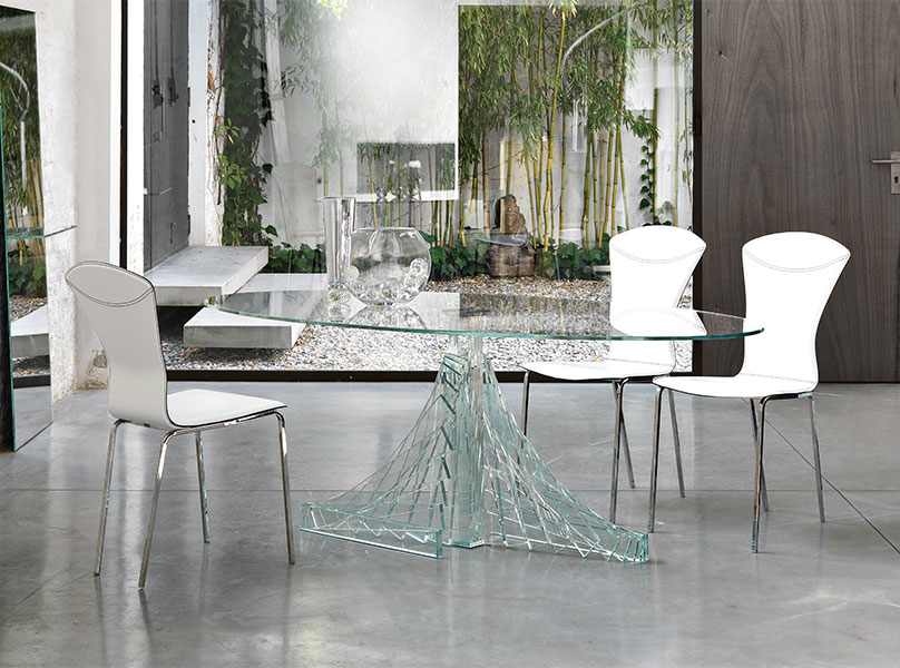Image of: Contemporary Glass Dining Table Oval