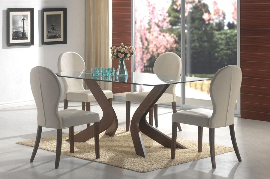 Contemporary Glass Dining Table Set