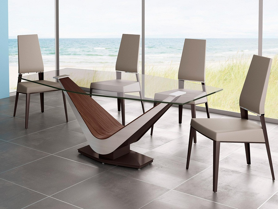 Image of: Contemporary Glass Dining Table Style