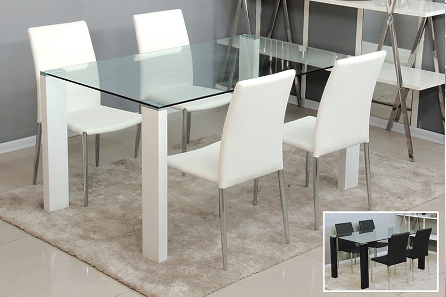 Image of: Contemporary Glass Dining Table and Chairs Color