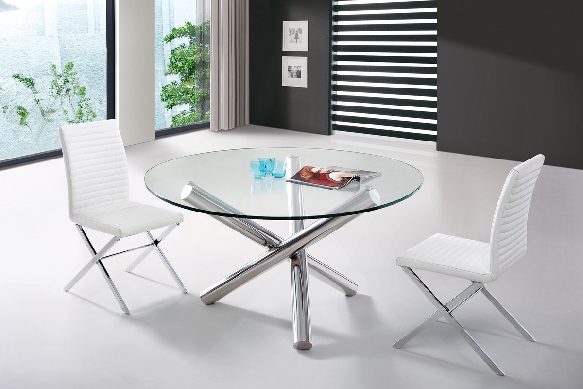 Image of: Contemporary Round Dining Table Glass