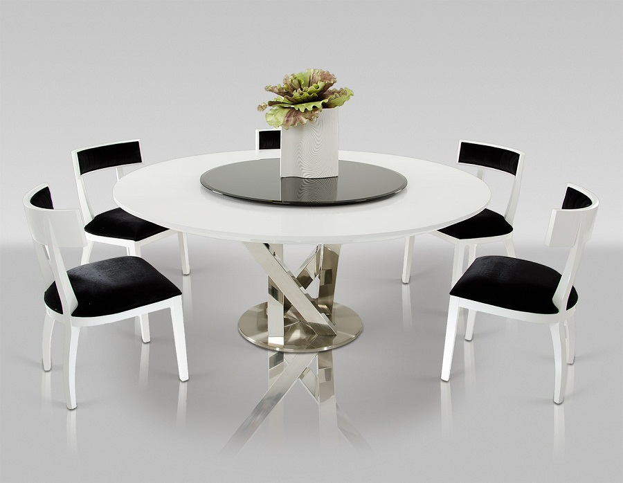 Image of: Contemporary Round Dining Table and Chairs