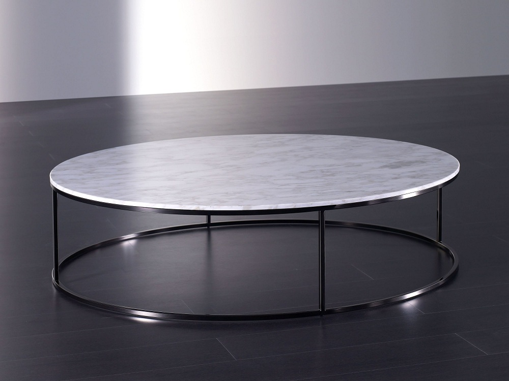 Image of: Metal Round Marble Coffee Table