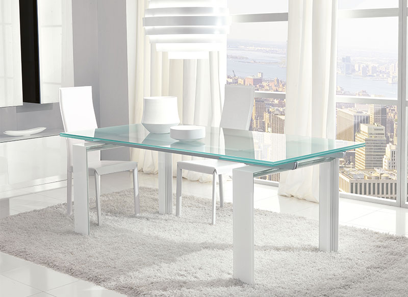 Image of: Minimalist and Contemporary Glass Dining Table