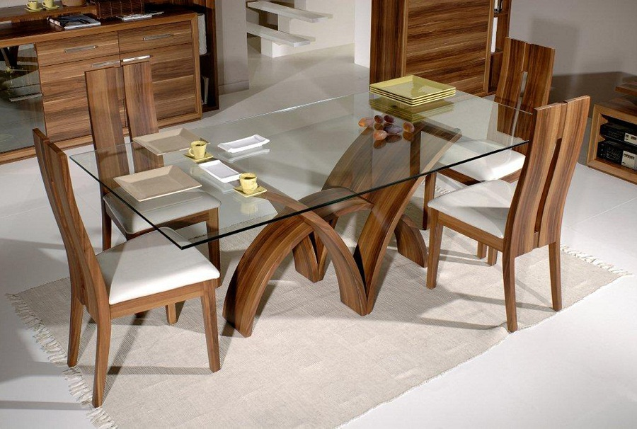 Image of: Rectangular Contemporary Glass Dining Table