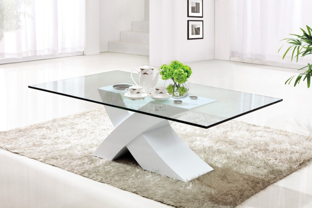 Image of: Swing Out Glass Contemporary Glass Coffee Tables