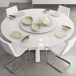White Contemporary Round Dining Table