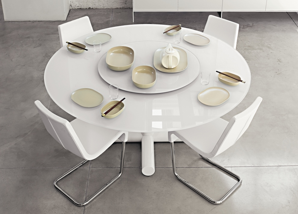 Image of: White Contemporary Round Dining Table