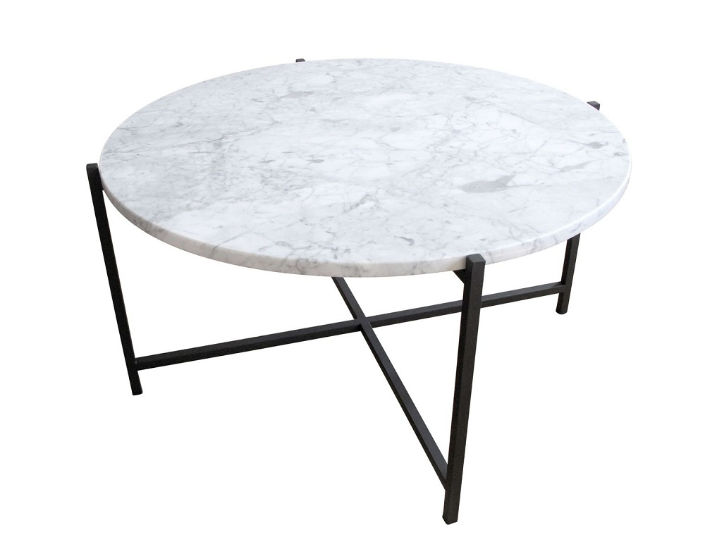 Image of: White Round Marble Coffee Table