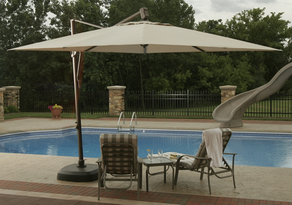 Picture of: Aluminum Patio Umbrella Side Table