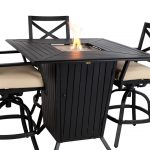 Bar Height Patio Table Set Fire Pit