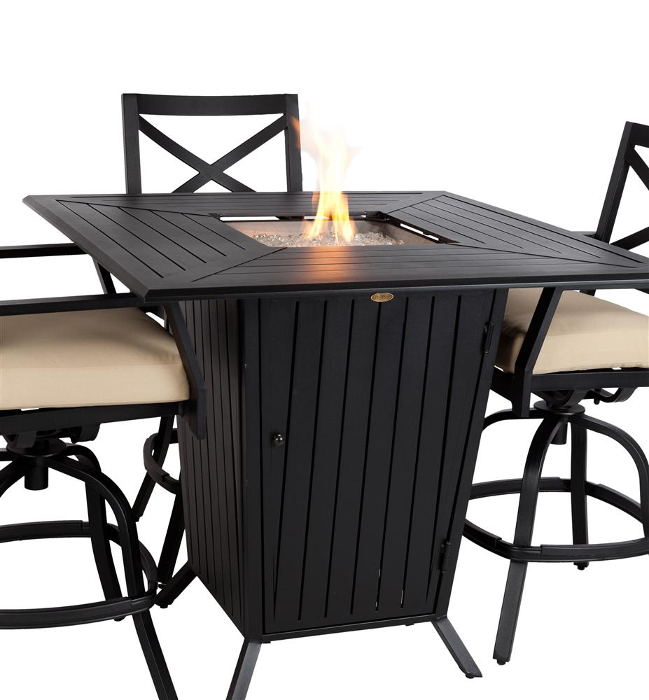 Picture of: Bar Height Patio Table Set Fire Pit