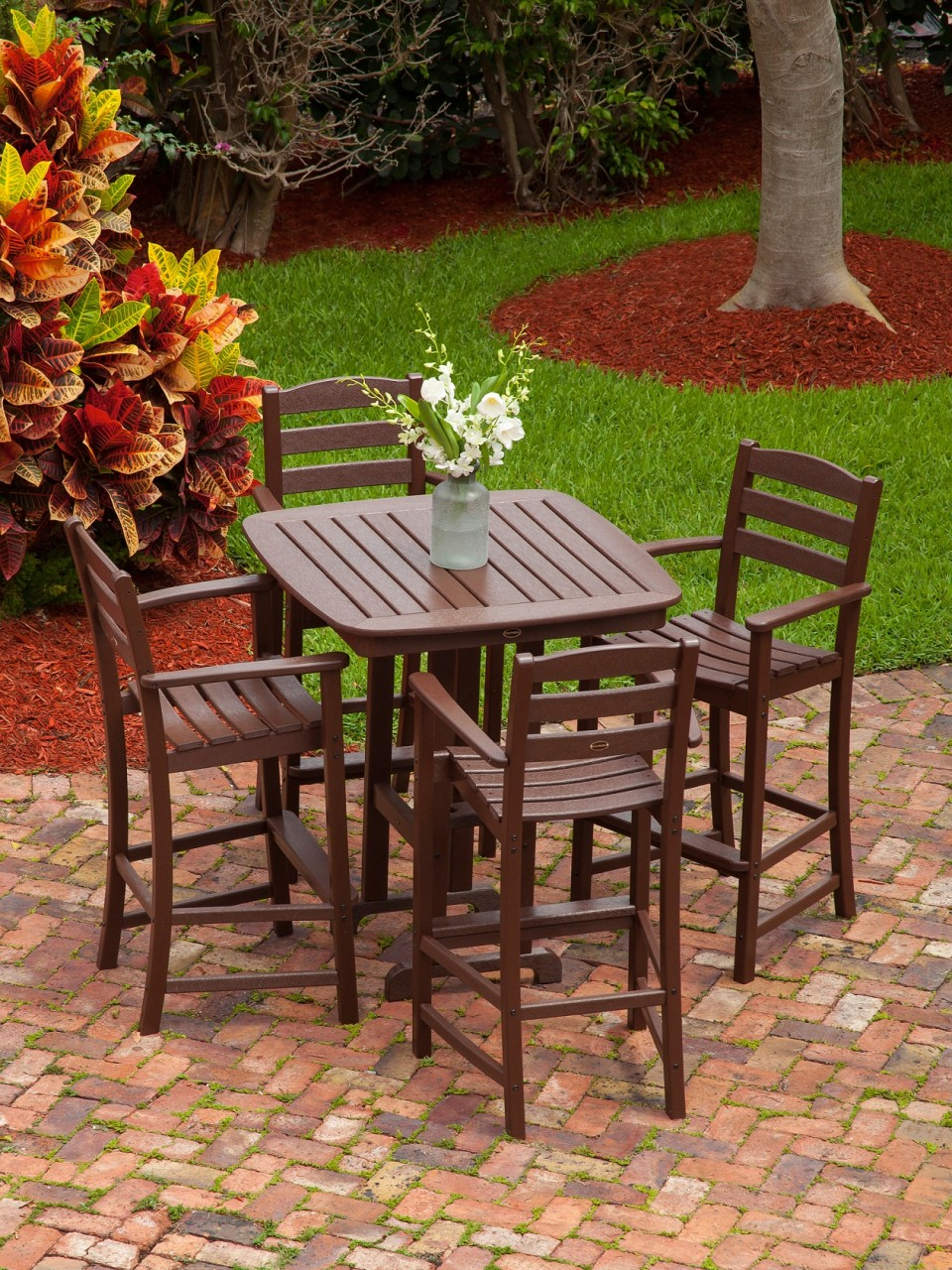 Image of: Bar Height Patio Table Set Wood