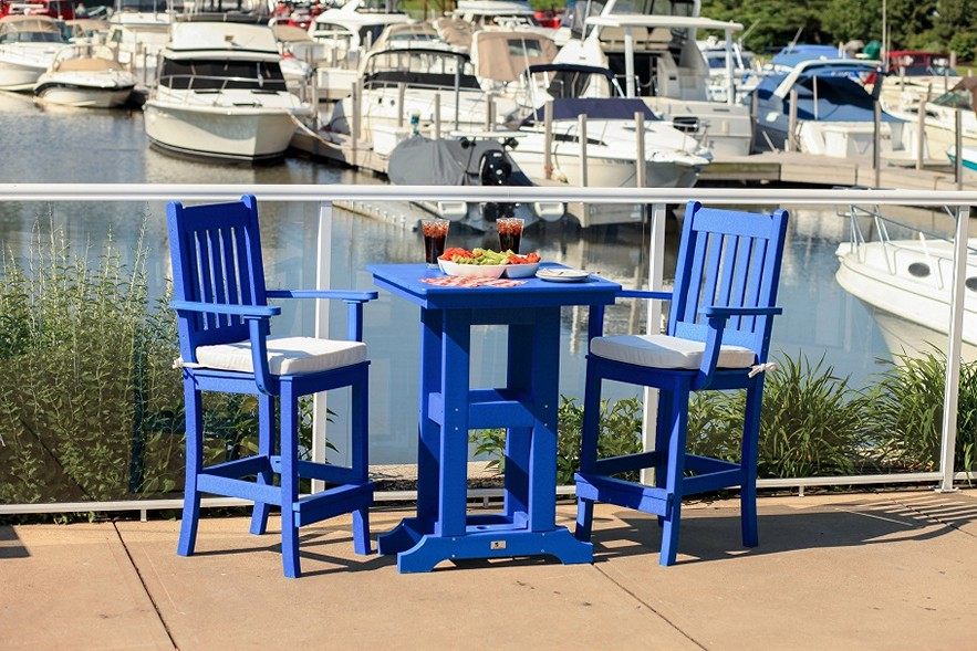 Picture of: Bar Height Patio Table and Chairs Blue
