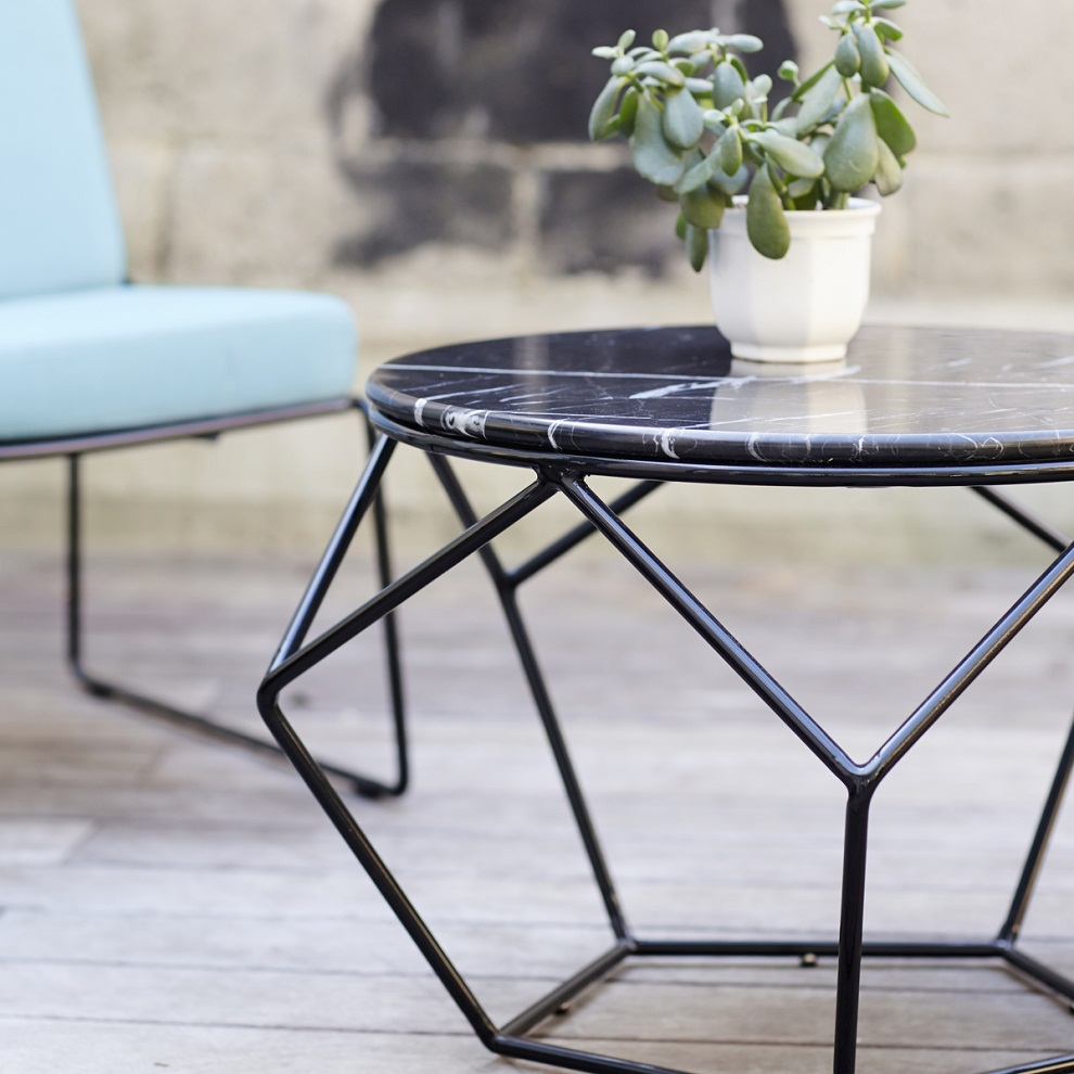 Picture of: Black Metal Patio Coffee Table