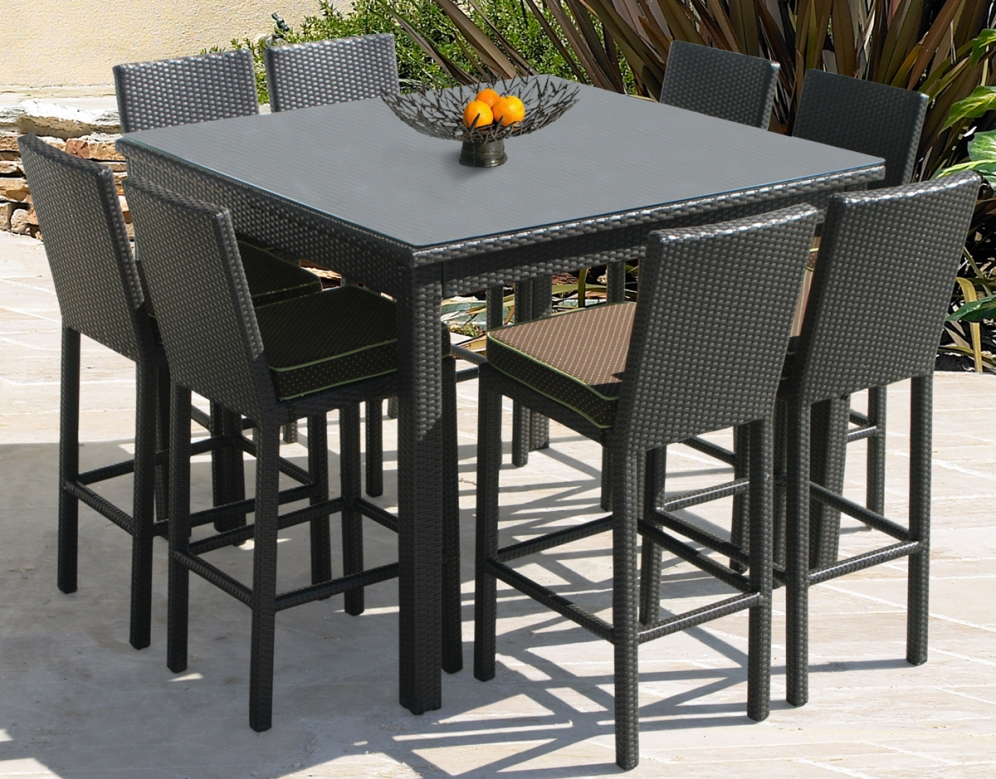 Picture of: Black Outdoor Patio Bar Table