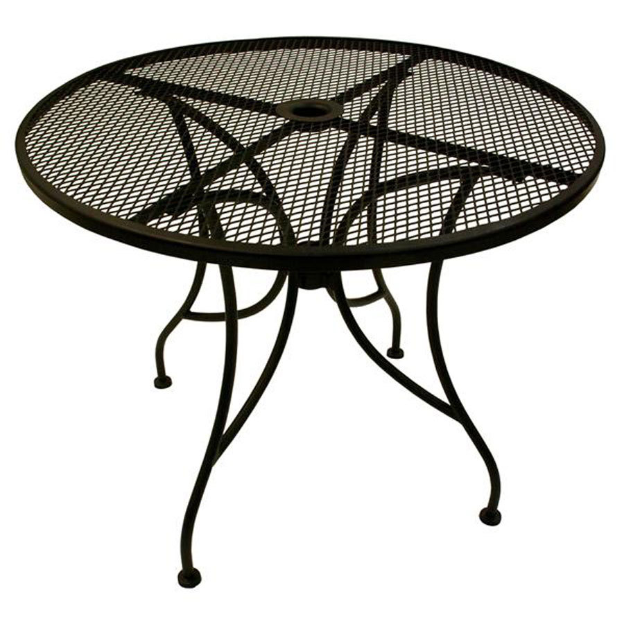 Picture of: Black Round Metal Patio Coffee Table