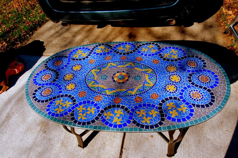 Picture of: Blue Metal Patio Side Table