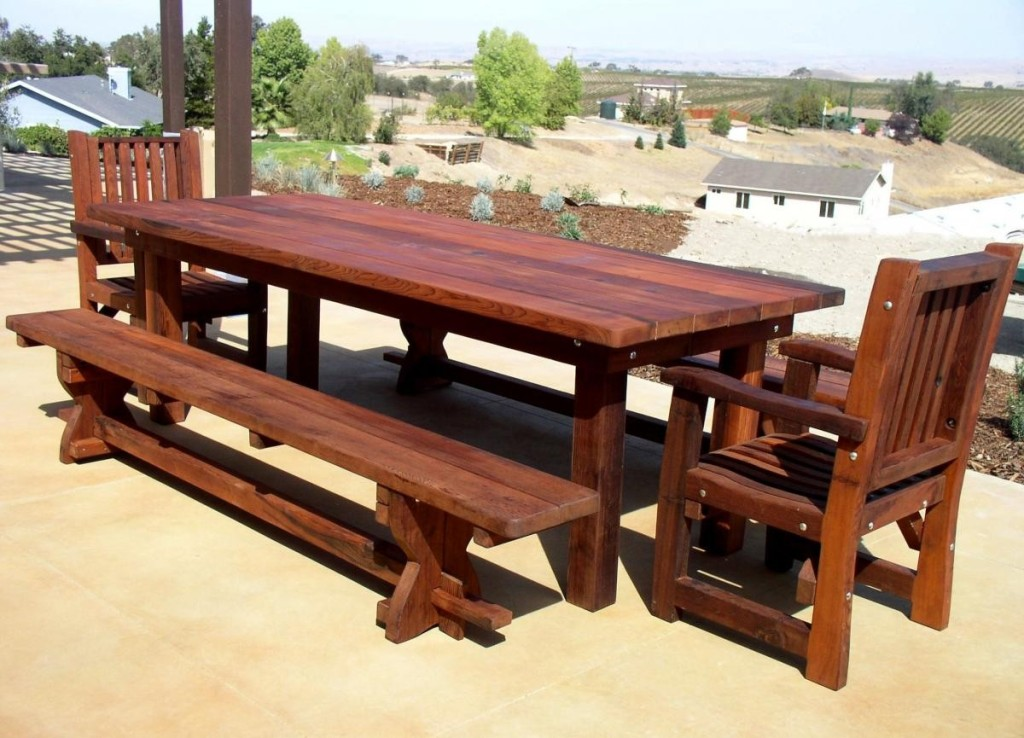 Image of: Large Wood Patio Dining Table