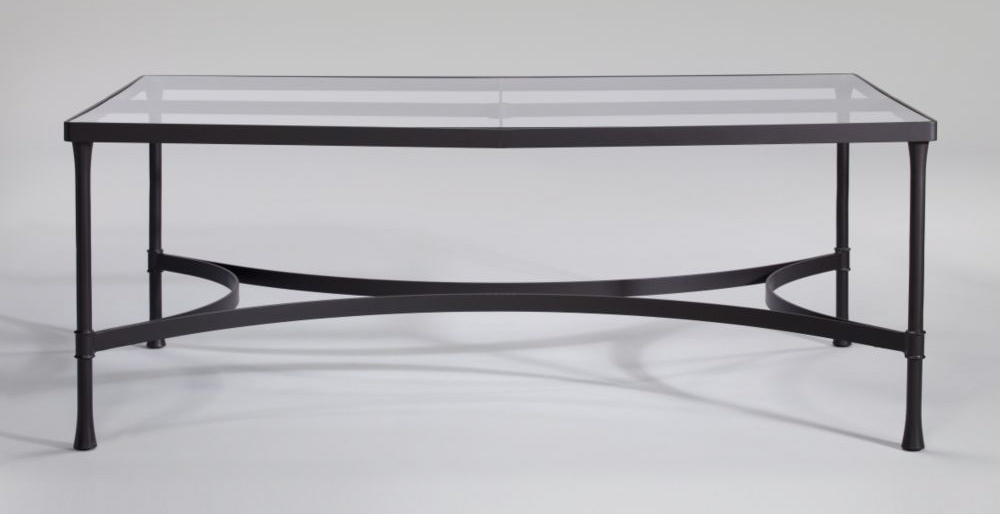 Picture of: Long Wrought Iron Patio Coffee Table