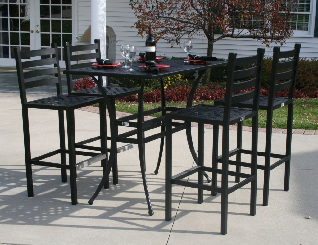 Picture of: Metal Bar Patio Table