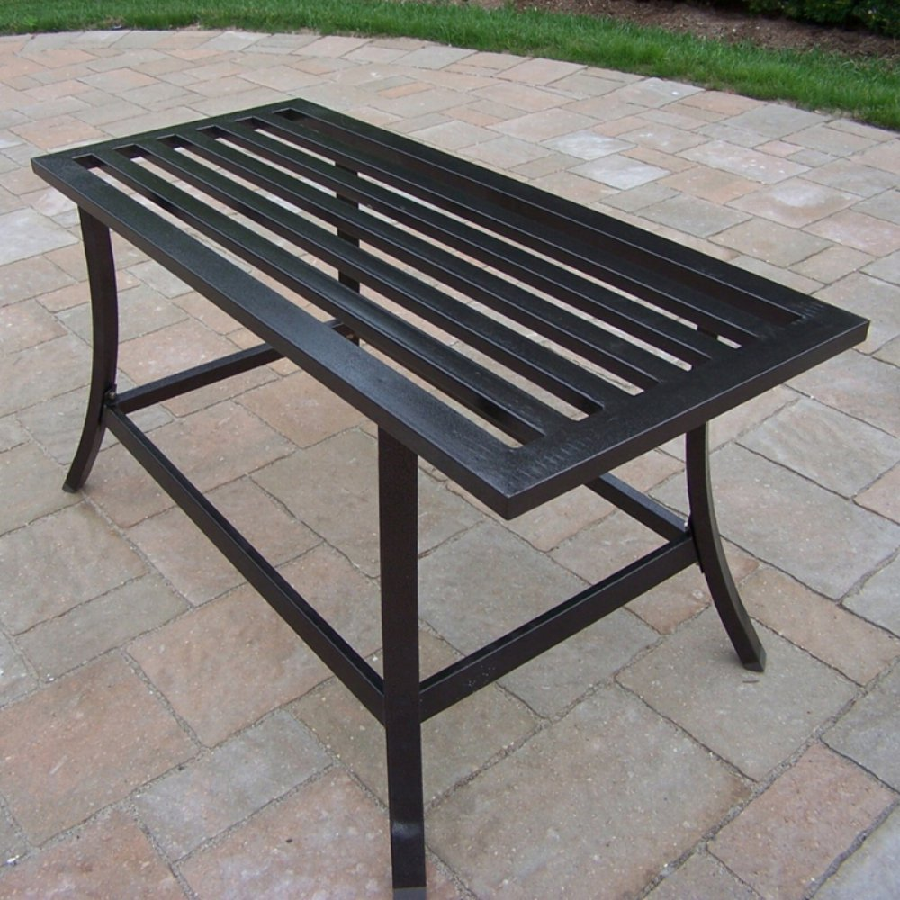 Picture of: Metal Patio Coffee Table Black