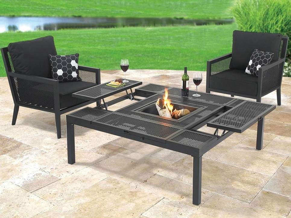 Image of: Metal Patio Coffee Table Fireplace