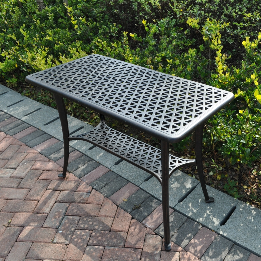 Picture of: Metal Patio Side Table Black