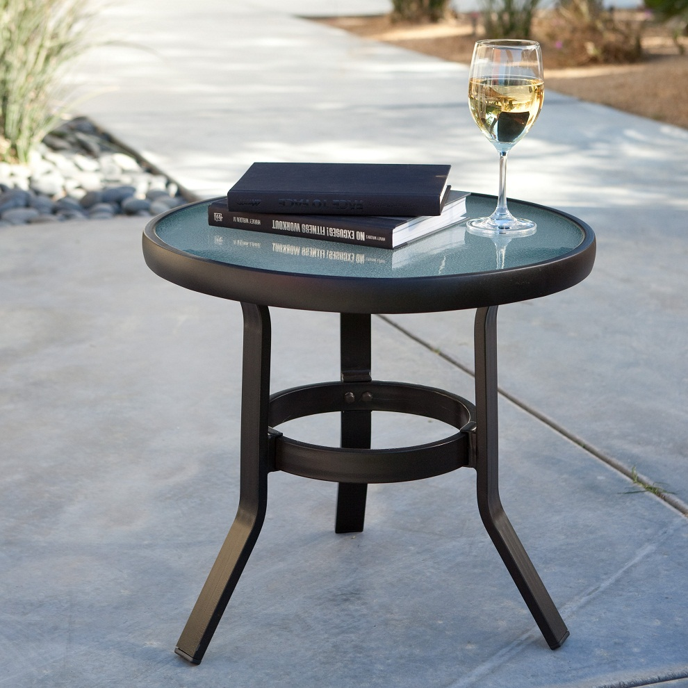 Picture of: Metal Patio Side Table Glass Top