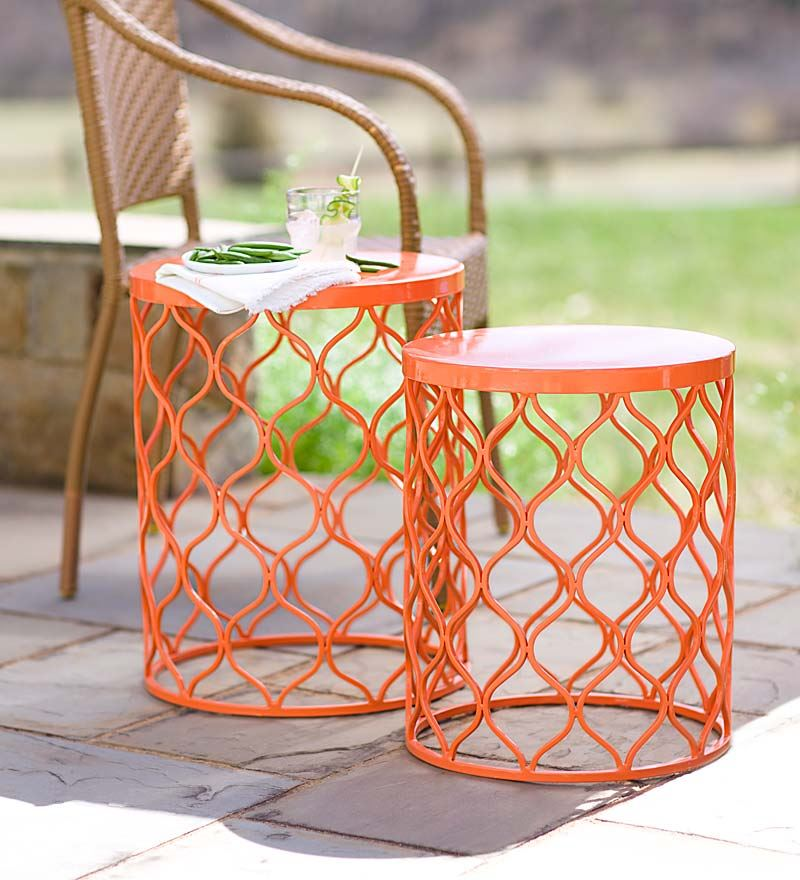 Picture of: Metal Patio Side Table Orange