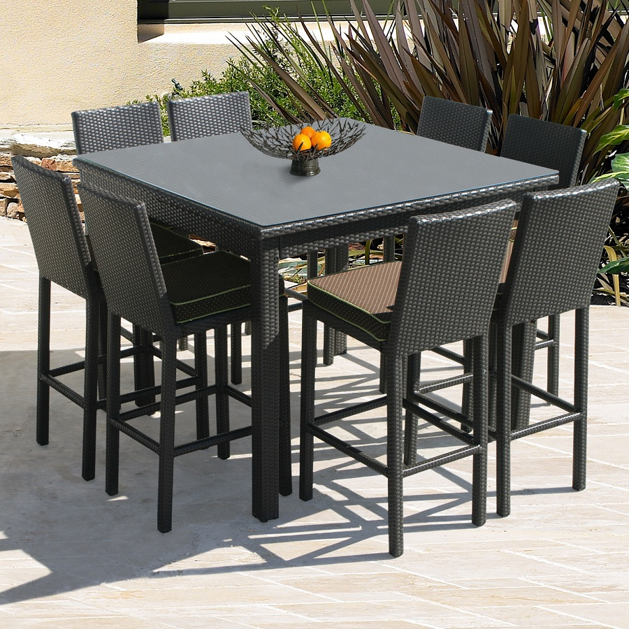 Image of: Modern Patio Bar Height Table and Chairs