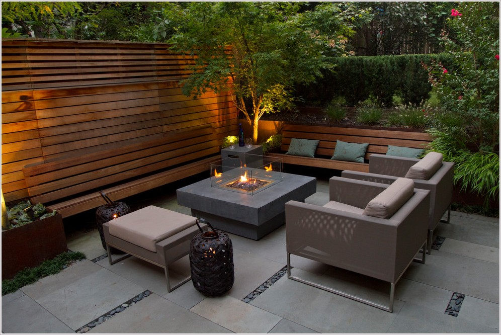Image of: Modern Patio Table with Firepit