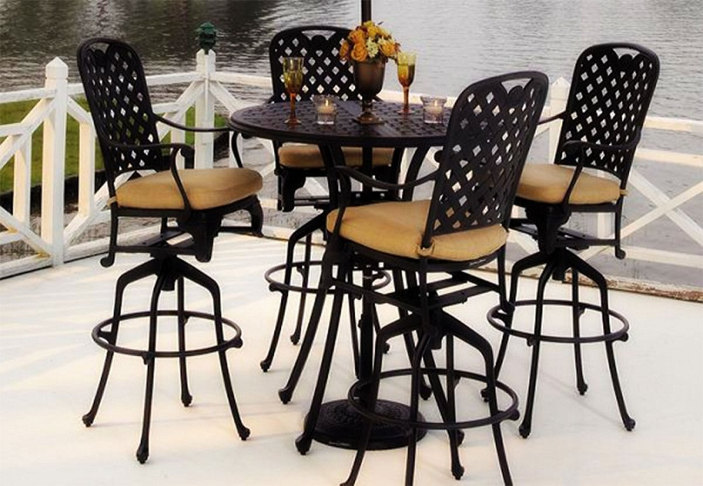 Image of: Outdoor Bistro Table and Chairs Black