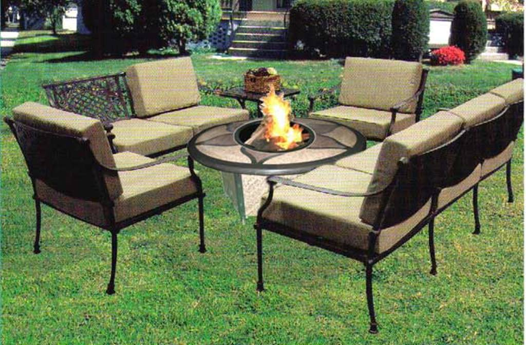 Picture of: Outdoor Table with Firepit Chairs