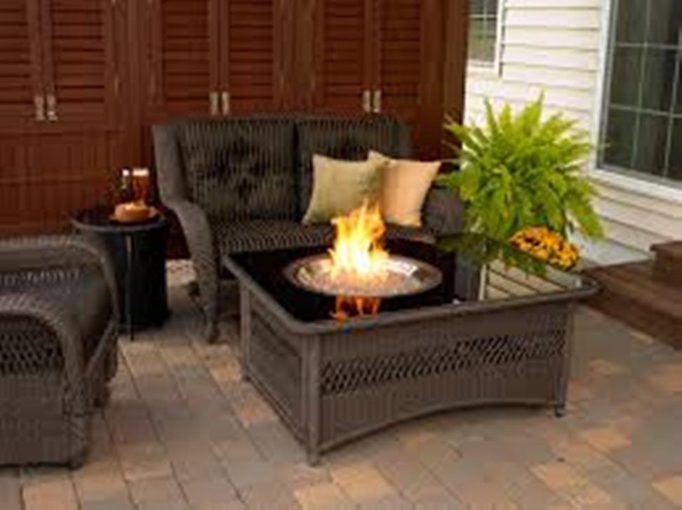 Picture of: Outdoor Table with Firepit Top