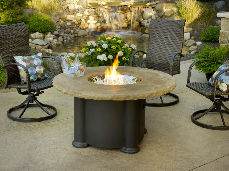 Picture of: Outdoor Table with Firepit and Chair