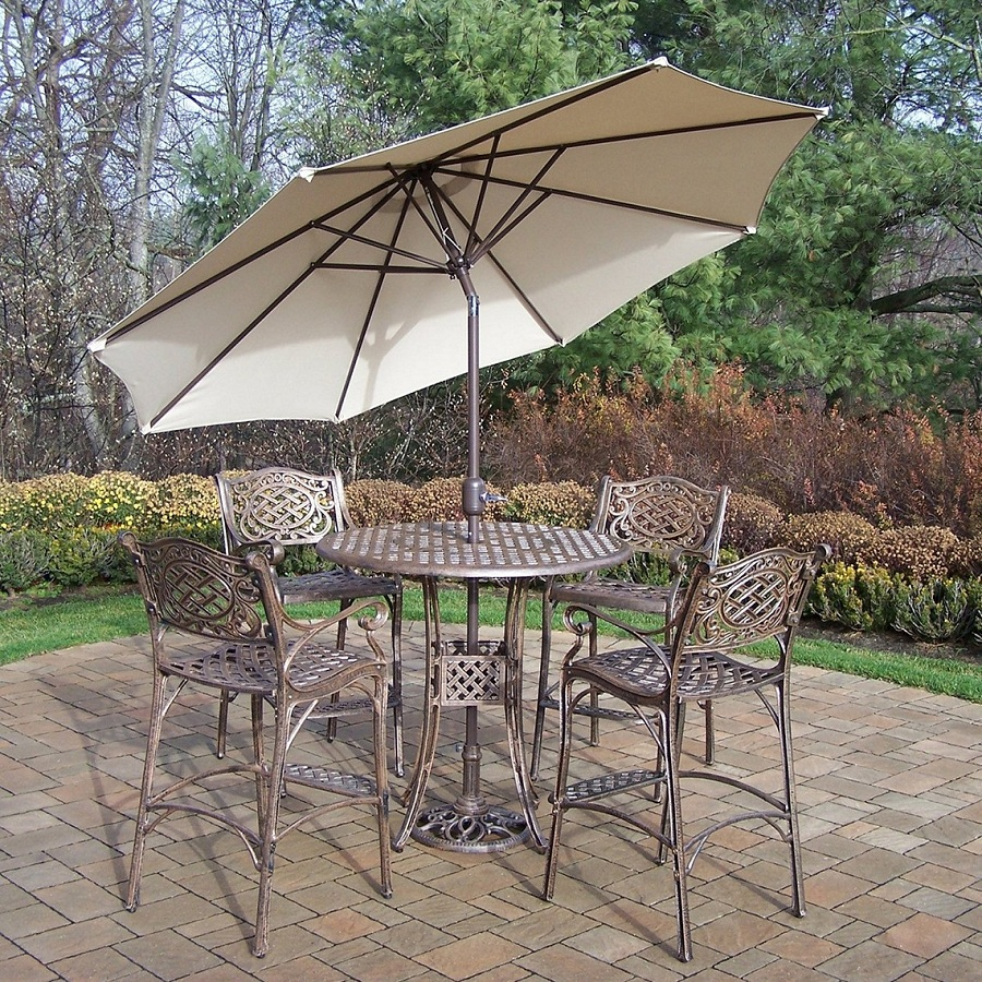 Image of: Patio Bar Height Table and Chairs Furniture