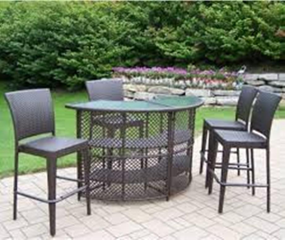 Image of: Patio Bar Table Set Black