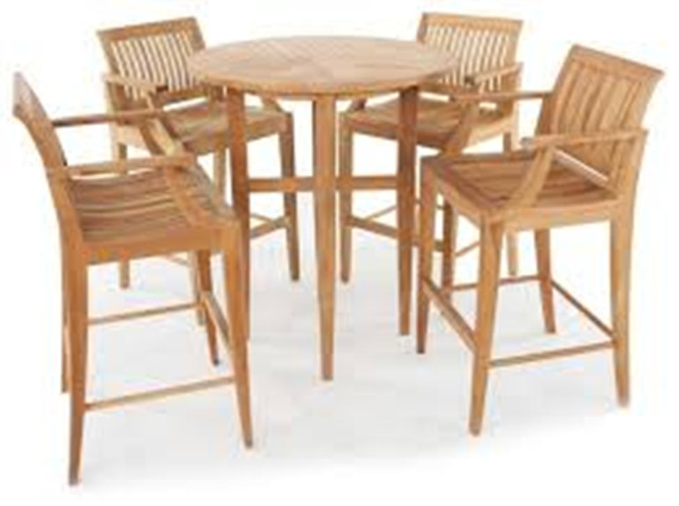 Picture of: Patio Bar Table Set With Nesting Stools
