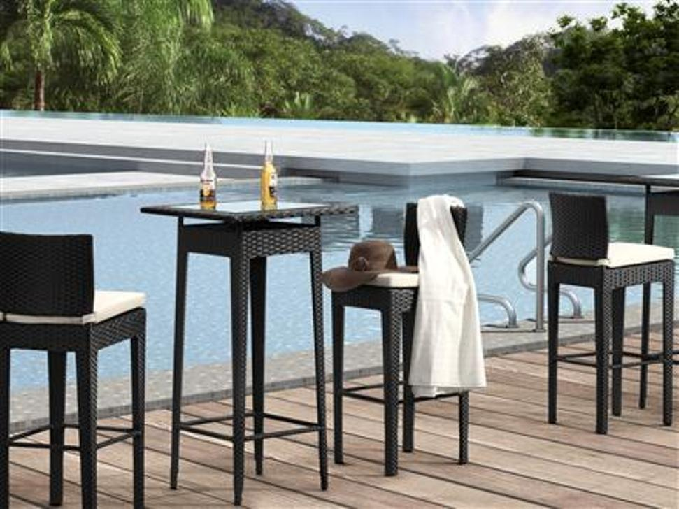 Image of: Patio Bar Table Sets In Black Finish