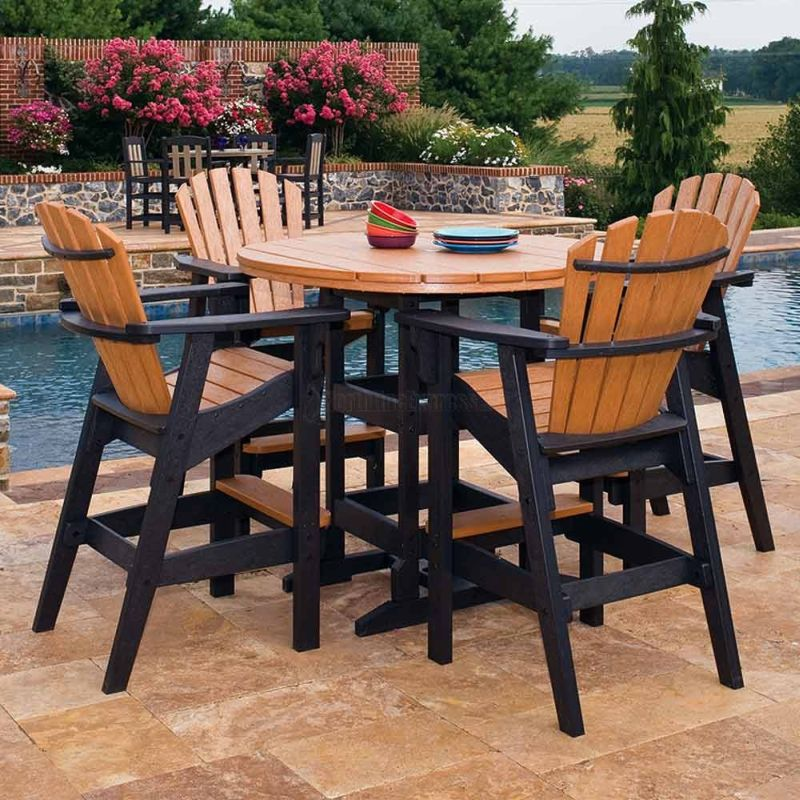 Image of: Patio Table Bar Height Wood