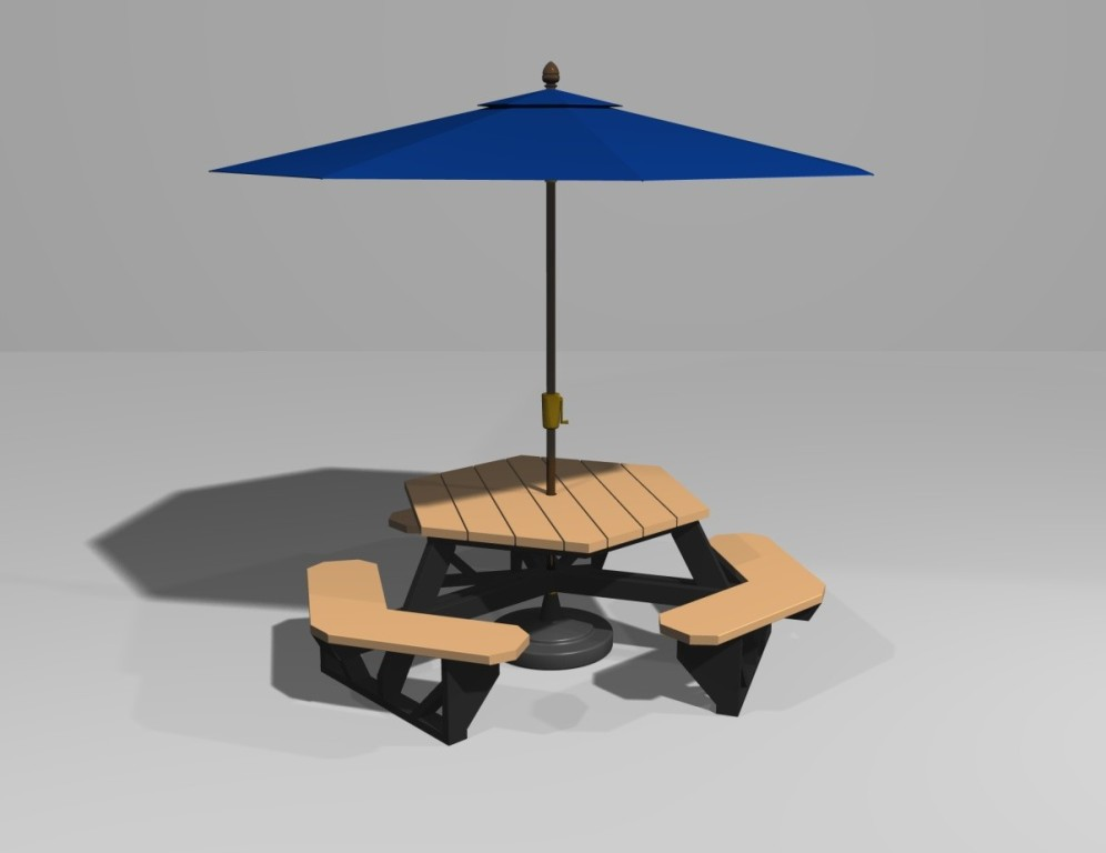 Picture of: Picnic Table with Umbrella Design